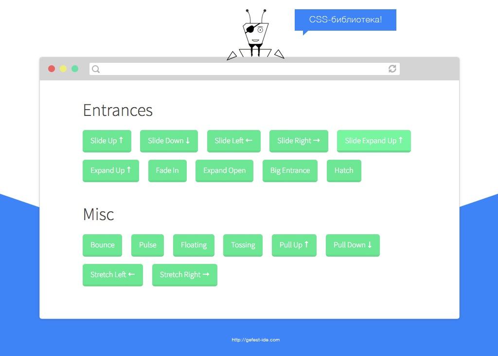 библиотека для создания анимации - CSS3 Animation Cheat Sheet