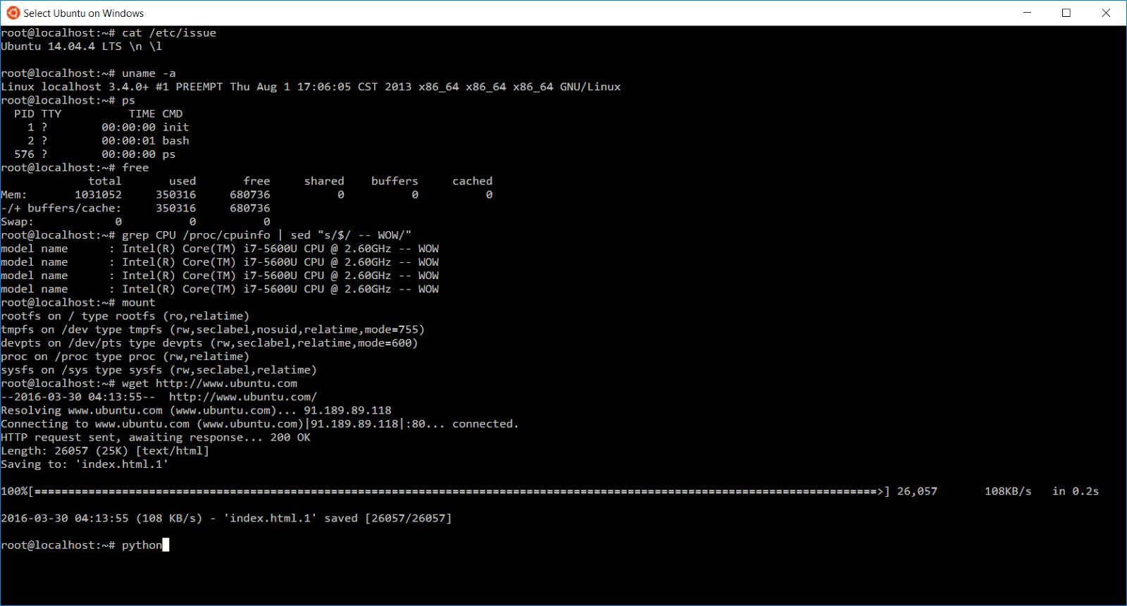 Ubuntu интегрировали в Windows 10 - 3