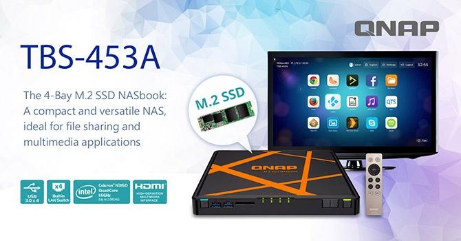 Хранилище Qnap NASbook TBS-453A  вмещает до четырех SSD типоразмера M.2