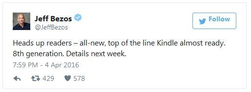 Глава Amazon пообещал рассказать об электронной книге Kindle нового поколения на следующей неделе