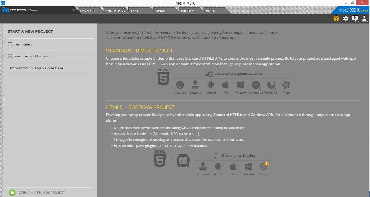 Разработка HTML5-игр в Intel XDK. Часть 1. Знакомство с XDK - 2