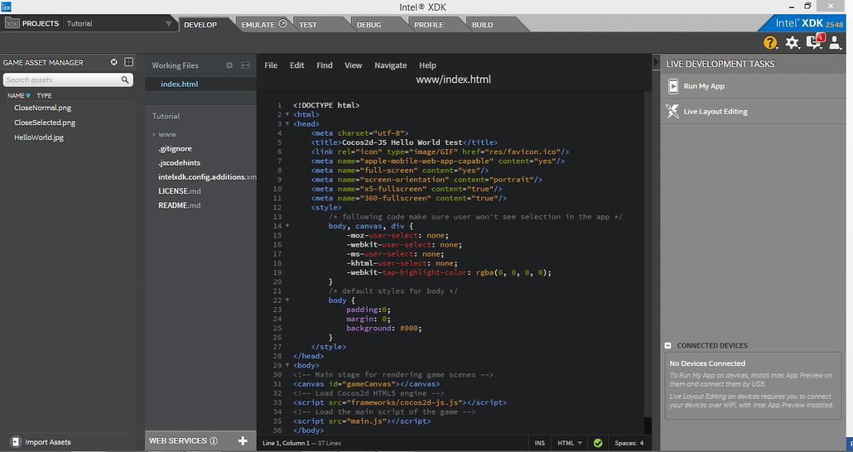 Разработка HTML5-игр в Intel XDK. Часть 1. Знакомство с XDK - 5
