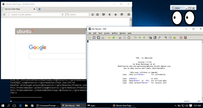 Да, вы можете запускать десктопные Linux приложения под Windows 10 - 1