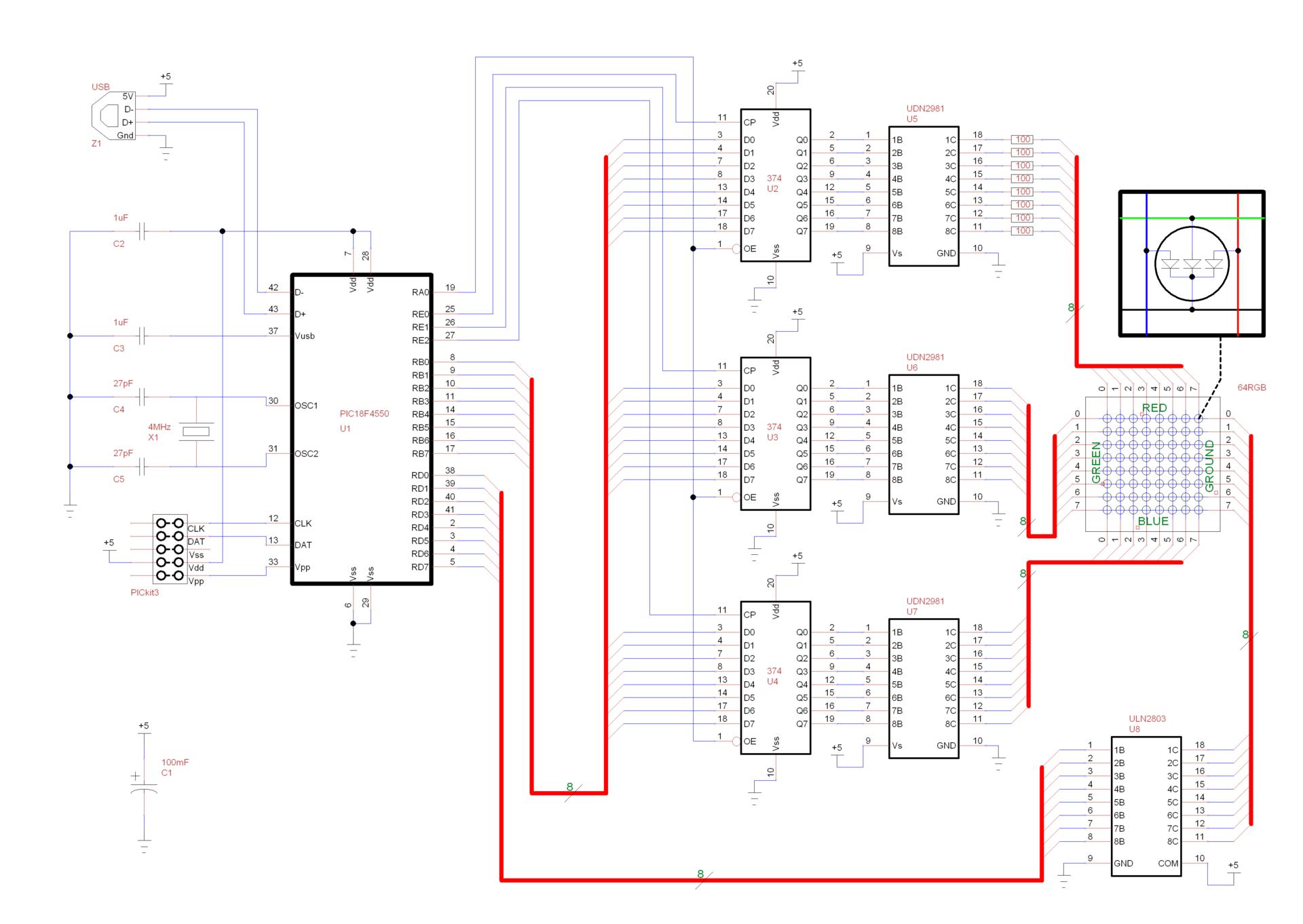 Прототип светодиодного табло на 262 144 комбинации цветов и 64 пикселя - 1