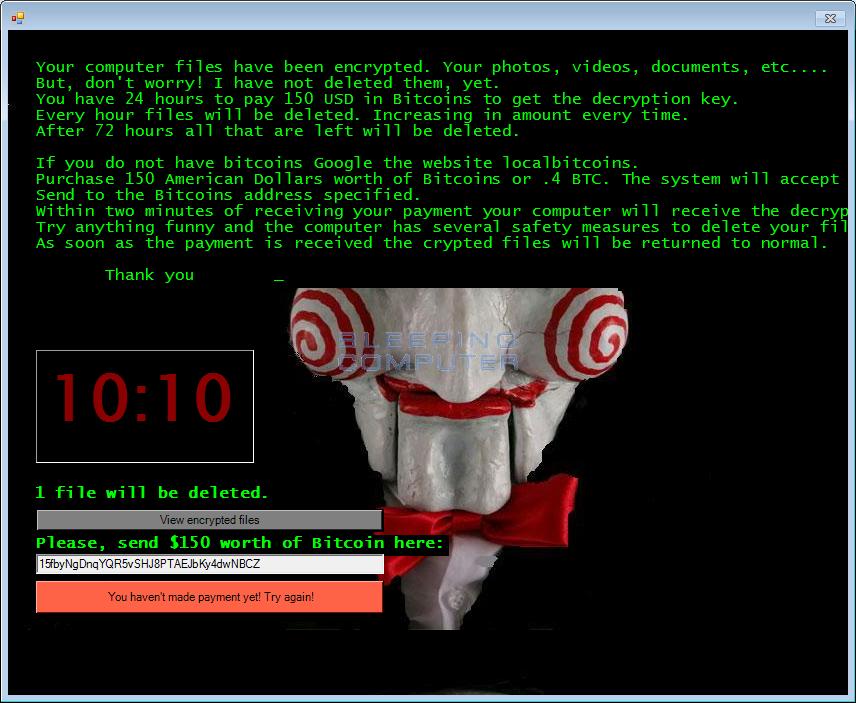 Криптовымогатель Jigsaw играет с пользователем, как персонаж фильма «Пила» (+ инструкция по обезвреживанию) - 1