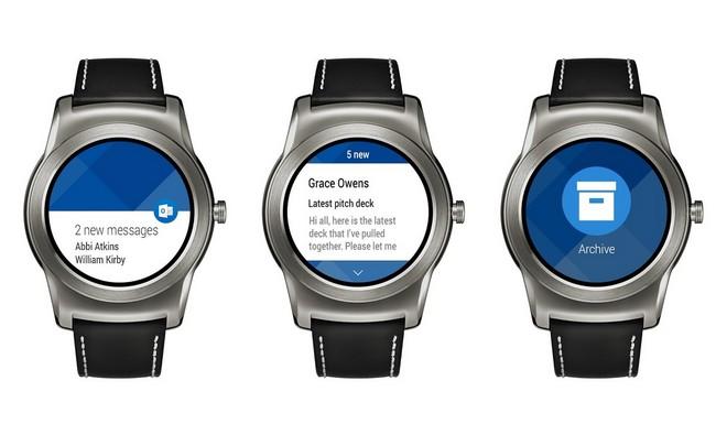 Приложение Microsoft Outlook обзавелось поддержкой умных часов с Android Wear