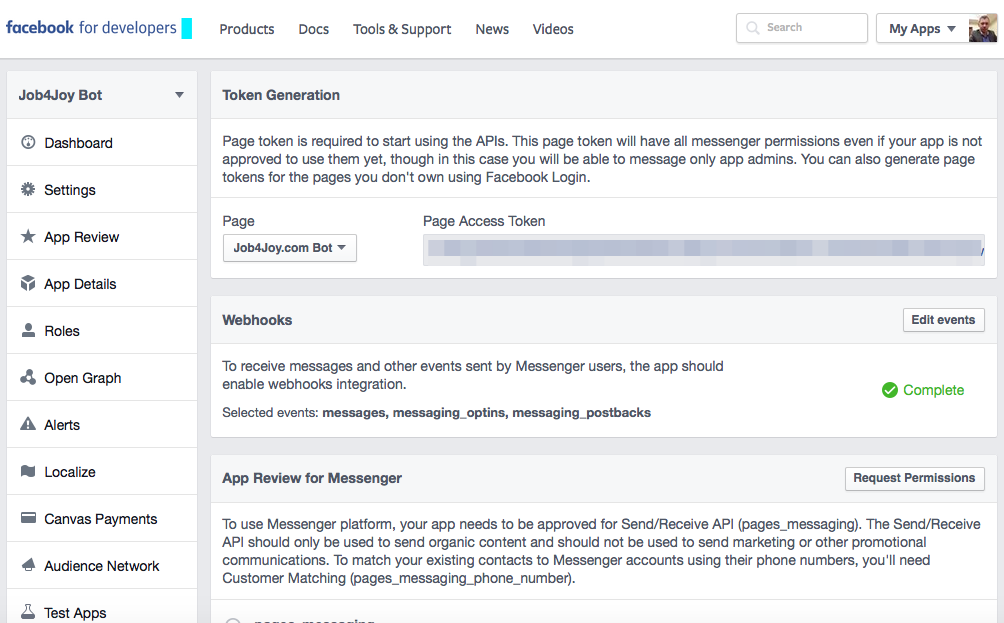 Разработка чат-бота для Facebook Messenger - 3