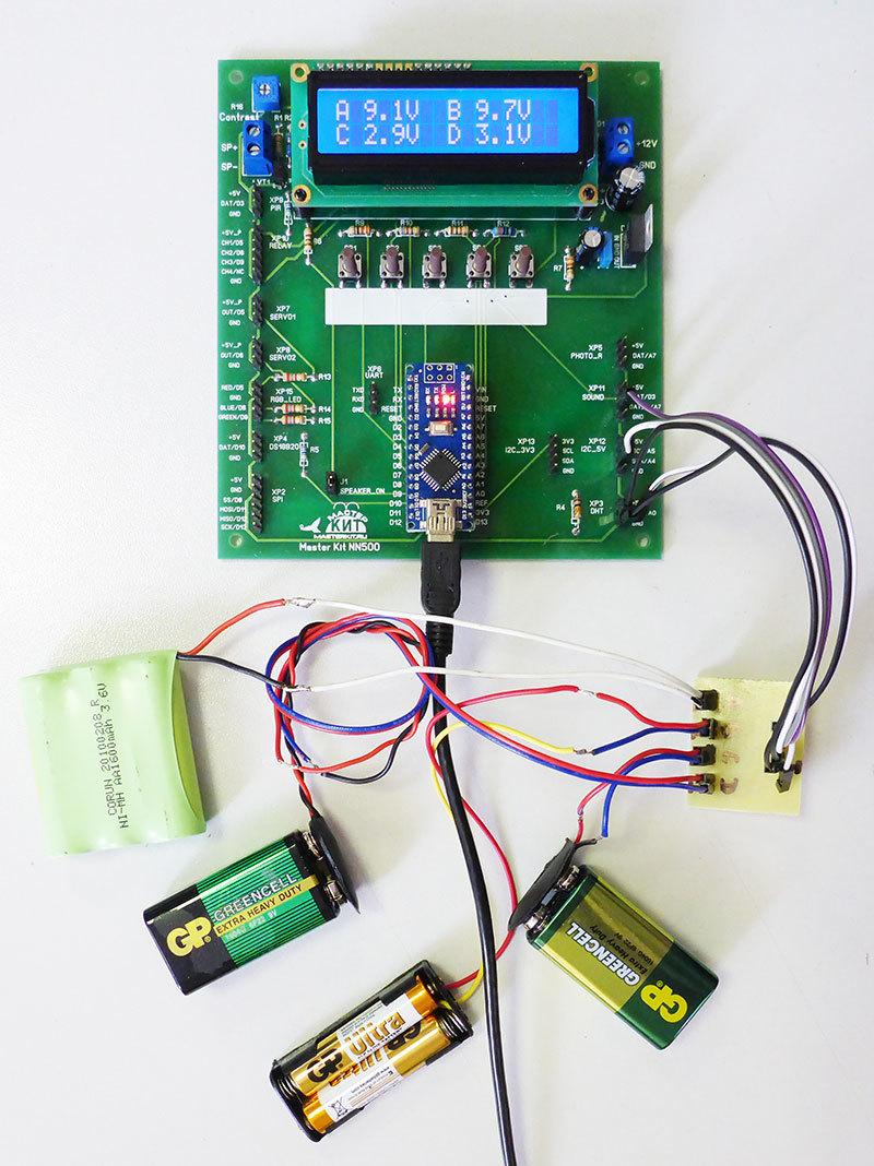 Четырехканальный вольтметр 0-50В на базе набора «Цифровая лаборатория» NR05 - 4