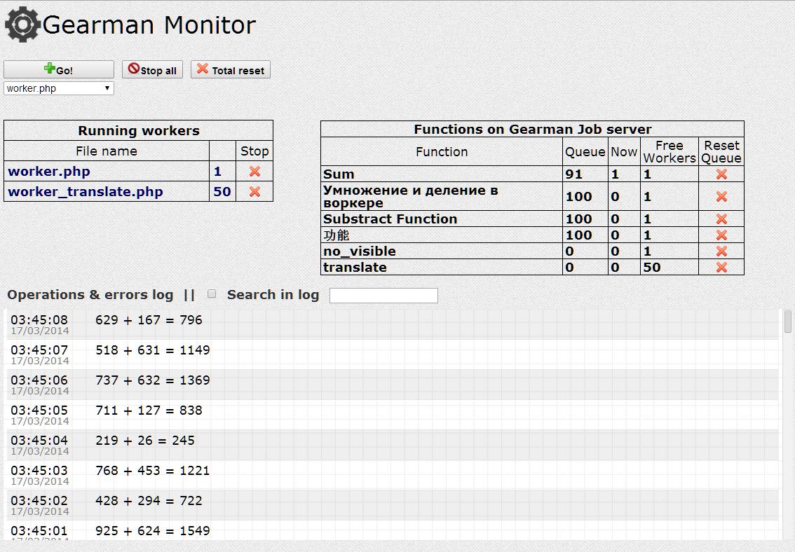 Сервер очередей Gearman: опыт практического использования и веб-приложение Gearman Monitor && Control - 4