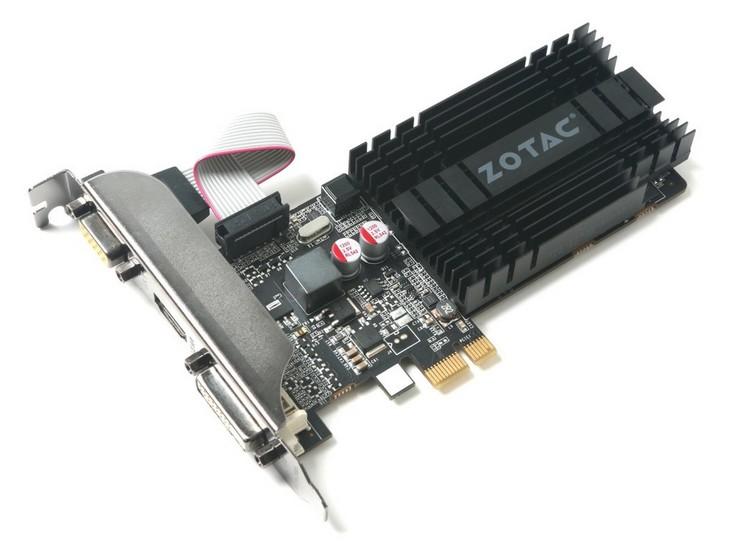 Видеокарта Zotac GT 710 1GB PCIE x 1 устанавливается в слот PCIe x1