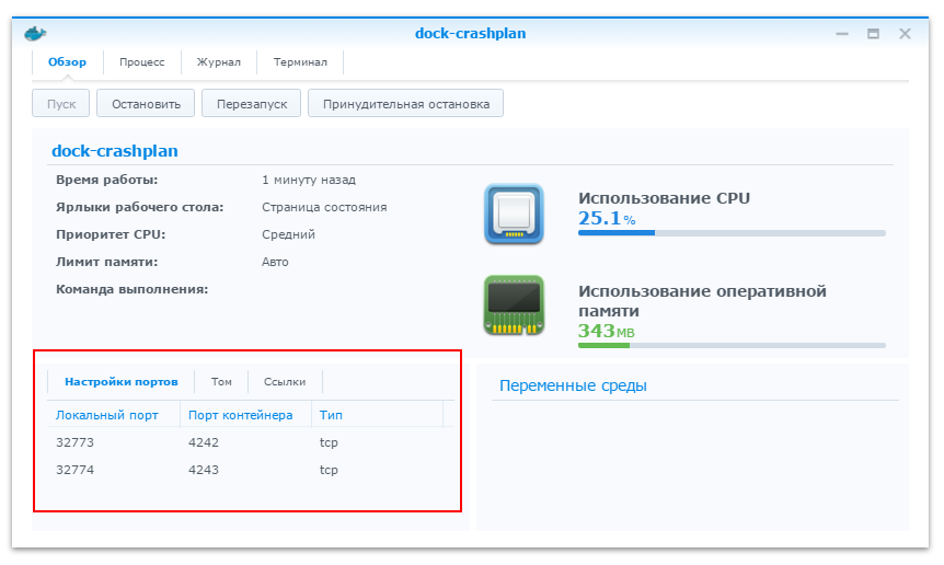 Установка CrashPlan в Docker-контейнер на NAS Synology - 4
