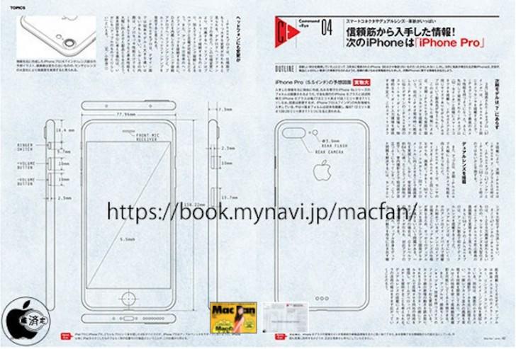 Японский журнал опубликовал чертеж смартфона iPhone Pro