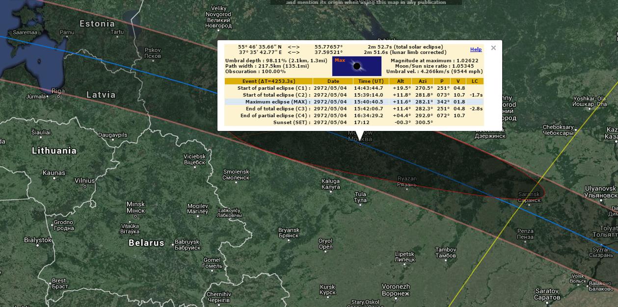 База солнечных и лунных затмений с -1999 по +3000 годы - 1