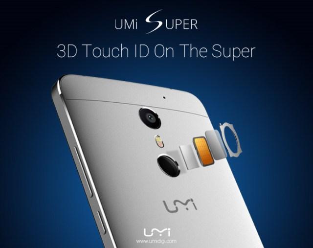 Дактилоскопический датчик смартфона UMi Super имеет четыре уровня безопасности