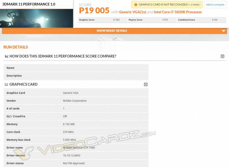 Видеокарта GeForce GTX 1080 протестирована в 3DMark