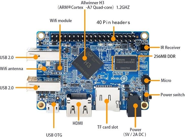 Плата Orange Pi Lite поддерживает образы ОС Android 4.4, Debian и Raspbian