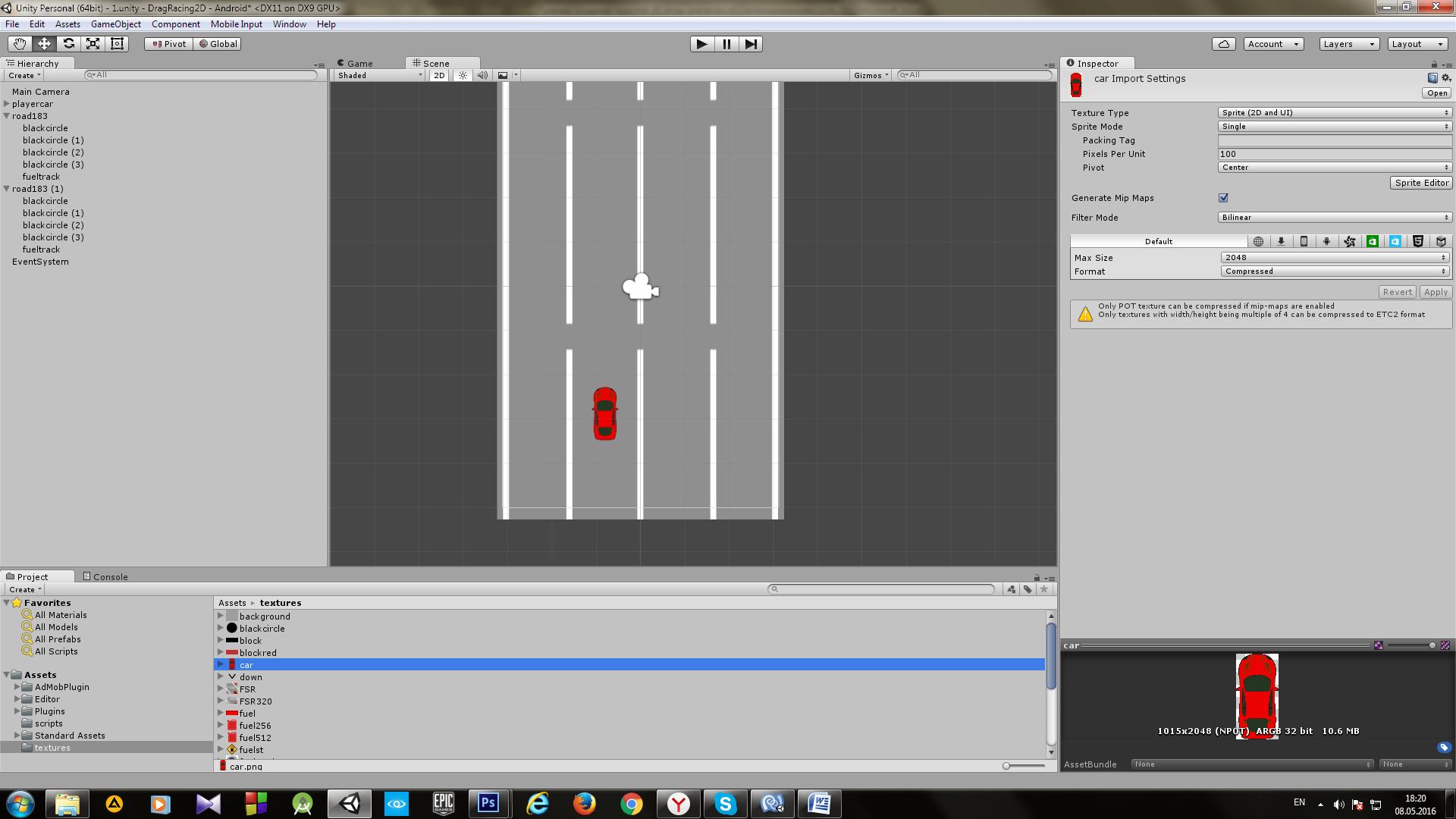Пример создания простой 2D игры для Android с использованием игрового движка Unity - 14