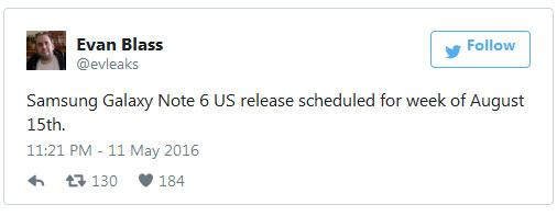 Назван срок анонса смартфона Samsung Galaxy Note 6