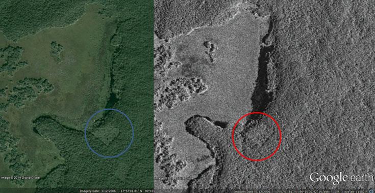 Специалисты Канадского космического агентства изучили район предполагаемого местонахождения города с помощью спутника RADARSAT-2