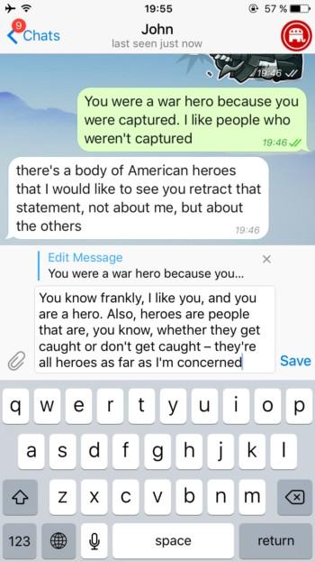 Telegram теперь позволяет редактировать сообщения после отправки