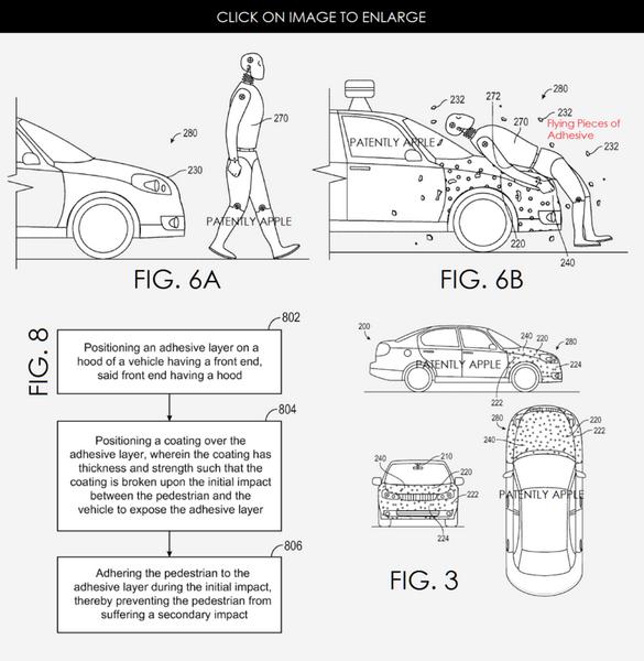 Google рассматривает возможность приклеивания пешехода к капоту авто при столкновении