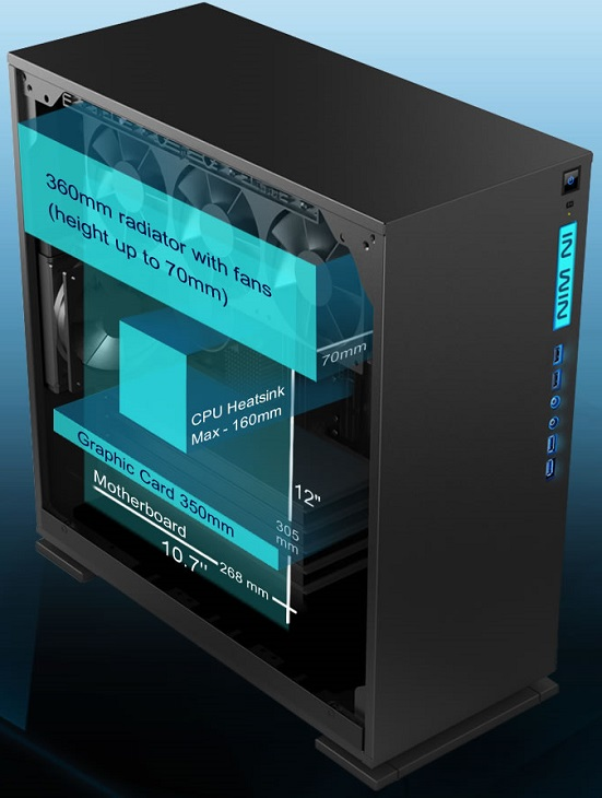 Модель In Win 303 отличается сдержанным современным дизайном