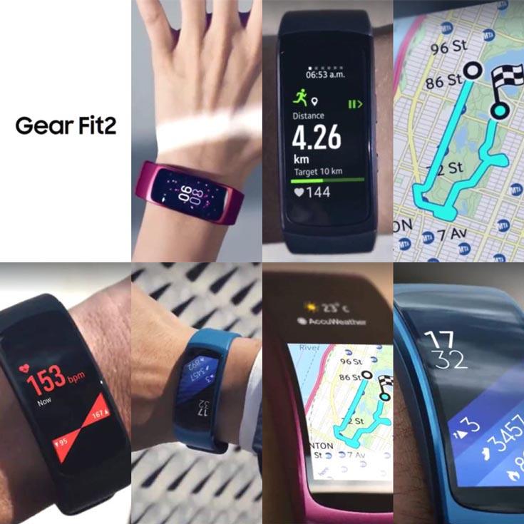 Покупателям будут предложены черный, синий и розовый варианты браслета Samsung Gear Fit 2