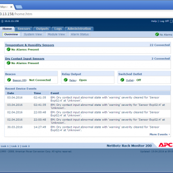Сравнение систем мониторинга Vutlan SC8100 и APC NetBotz Rack Monitor 200 - 23