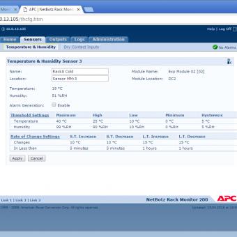Сравнение систем мониторинга Vutlan SC8100 и APC NetBotz Rack Monitor 200 - 9
