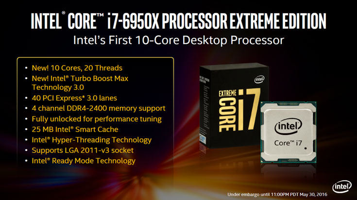 Помимо флагмана, доступна восьмиядерная модель Core i7-6900K и шестиядерные модели Core i7-6850K и i7-6800K