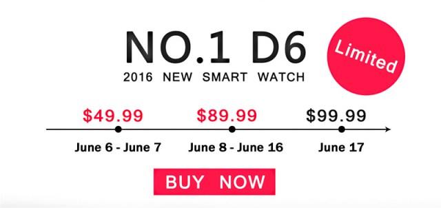 Умные часы No.1 D6 поступят в продажу в середине июня