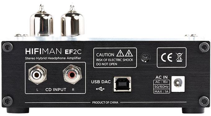 Схема усилителя HiFiMAN EF-2C включает два пентода 6J1 (аналог 6Ж1П) и операционный усилитель OPA2604