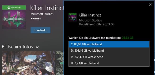 Пользователи Windows Store теперь могут выбрать диск для установки крупных приложений и игр