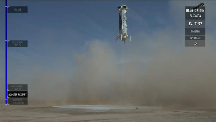 В ходе полета была испытана работа системы резервирования парашютной системы аппарата New Shepard