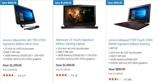 Скидки на компьютеры в Microsoft Store достигают $1000