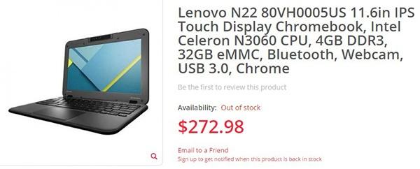 Lenovo N22 с каталожным номером 80VH0005US построен на SoC Intel Celeron N3060