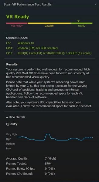 Видеокарта Radeon RX 480 зарабатывает до 7 баллов в тесте SteamVR