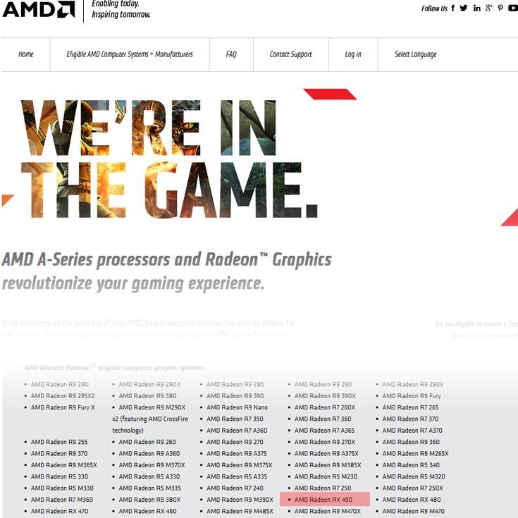 Упоминание о 3D-карте AMD Radeon RX490 обнаружено на сайте AMD