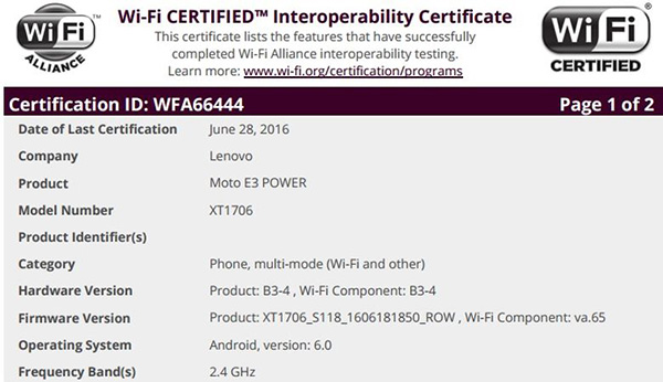 Moto E3 Power прошел сертификационные испытания Wi-Fi Alliance