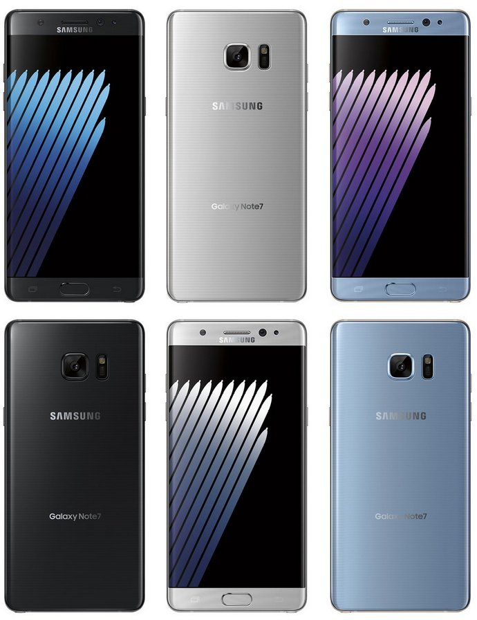 Samsung Galaxy Note7 будет доступен в цветах Black Onyx, Silver Titanium и Blue Coral