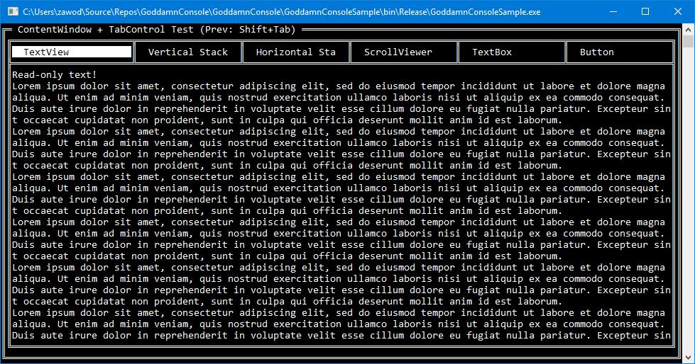 GoddamnConsole — библиотека для проектирования консольного UI - 2