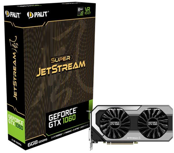 Графический процессор GeForce GTX 1060 JetStream с 1280 ядрами CUDA работает на частоте 1847 МГц