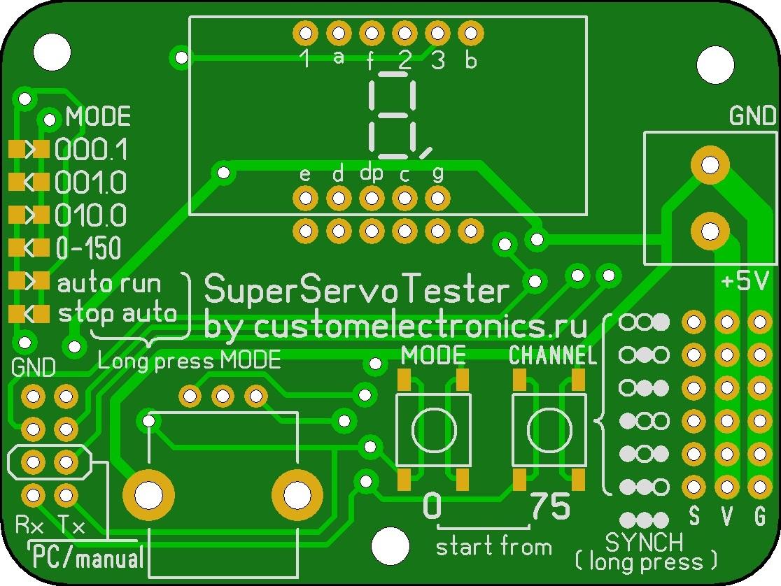 Многоканальный тестер сервоприводов с индикатором своими руками - 4