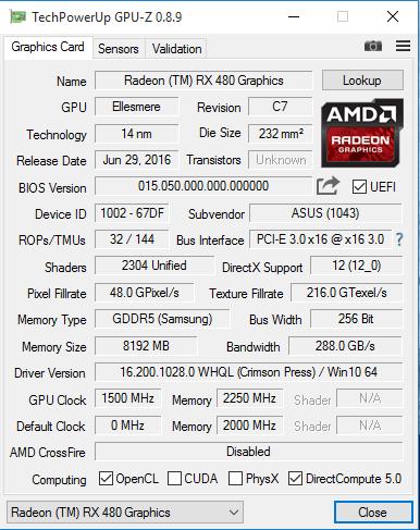 Видеокарта AMD Radeon RX 480 покорила частоту 1,5 ГГц для GPU и превзошла Radeon R9 390X и Radeon R9 Nano в тестах