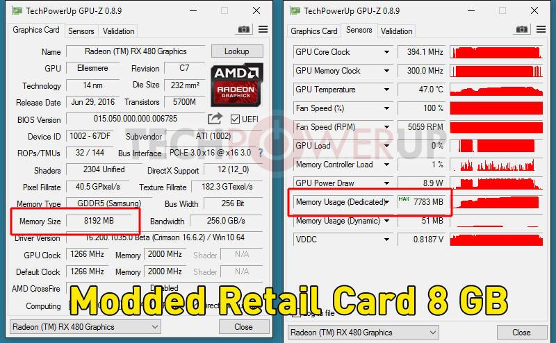 Перепрошивка Radeon RX 480 превращает 4-гигабайтную версию в 8-гигабайтную - 7