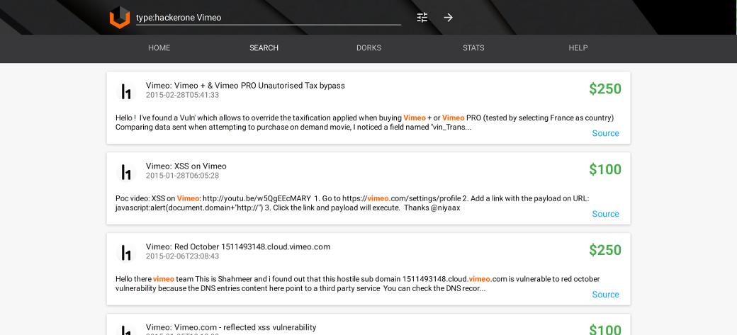 Ищем зарепорченные на HackerOne баги по сервису Vimeo