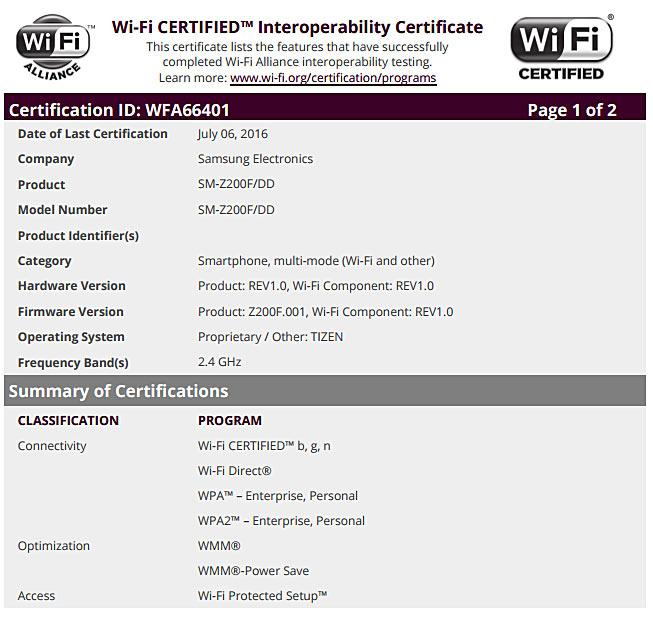 Ранее модель с индексом SM-Z200F была сертифицирована организацией Bluetooth Special Interest Group (SIG)