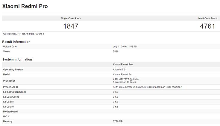 Смартфон Xiaomi Redmi Pro получит топовую SoC