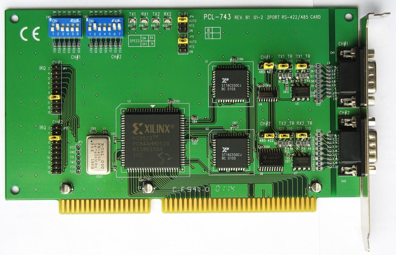 Адаптеры сопряжения RS-422 с поддержкой скоростей до 1Мбод для системной шины PCI - 1