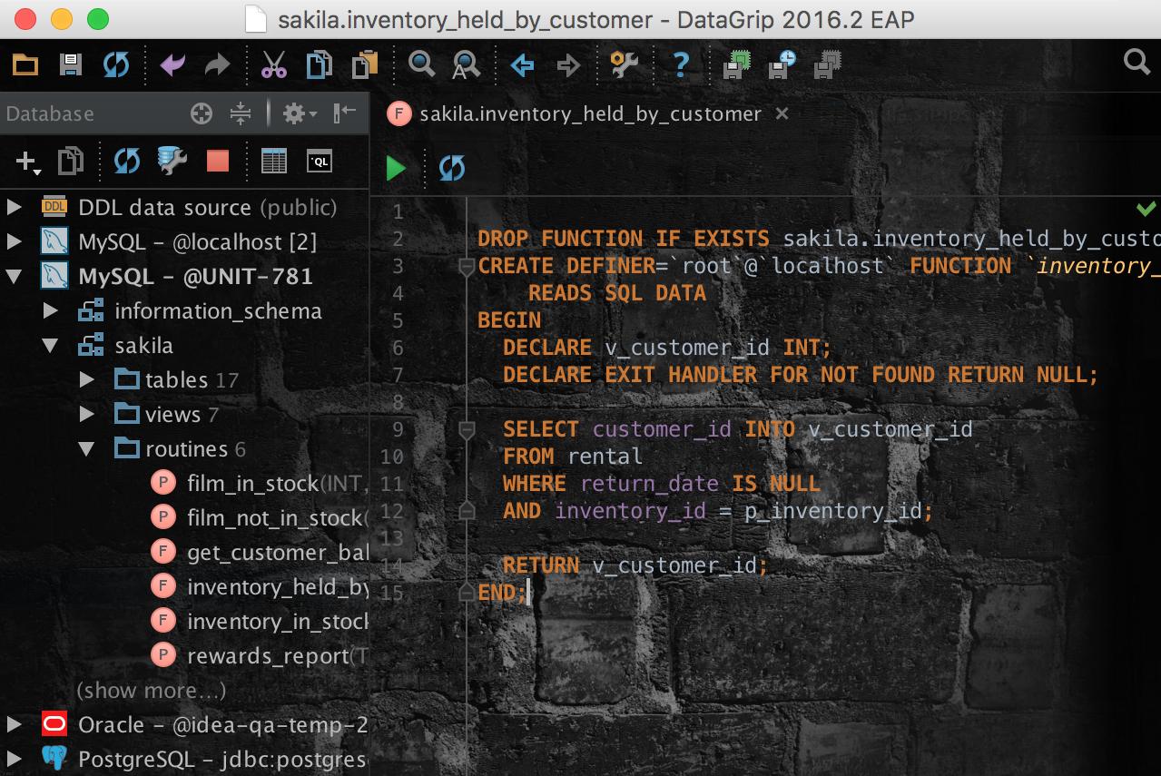 Релиз DataGrip 2016.2: Импорт CSV, поддержка JSON и XML в строках, динамический SQL, улучшения для PostgreSQL - 23